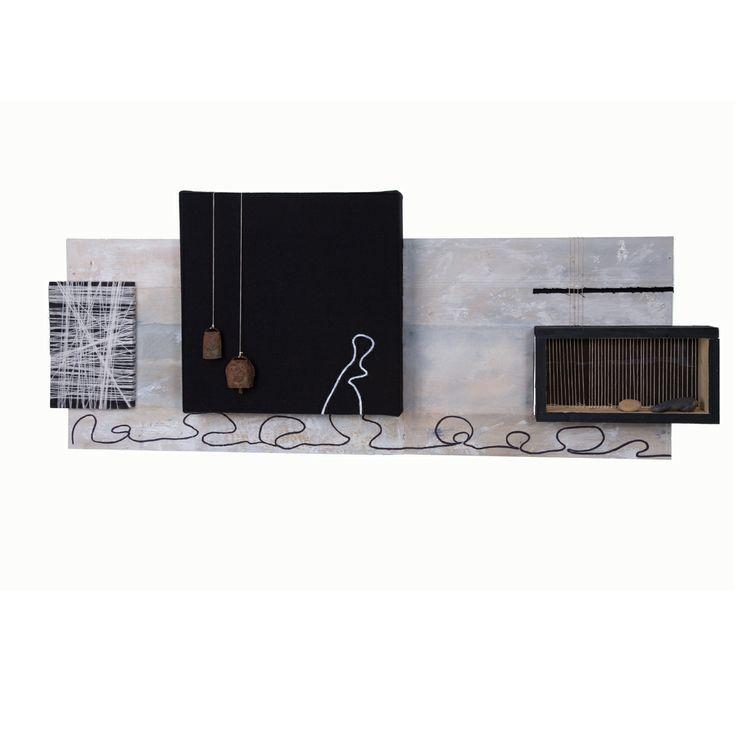 """""""ALL-BAZZ"""" Opera di Luca Cossu. Tecnica mista su legno e tessuto. Materiali: orbace, legno, filo di lana, campanacci, ciottoli, colori acrlici e colla"""