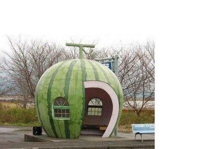 Love this kooky watermelon bus stop !