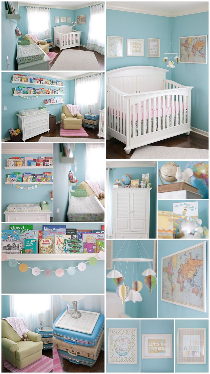 "Dream nursery.   Maps, bikes, hit air balloons, pinwheels with maps too. Bunting with maps and colors.    Nursery inspired by the Dr. Suess book ""Oh, the Places You'll Go!"" I am in love ♥ Hot air balloons, maps & books. Only with more neutrals... Grey and hite with pops of salmon, teal, and mustardy yellow"