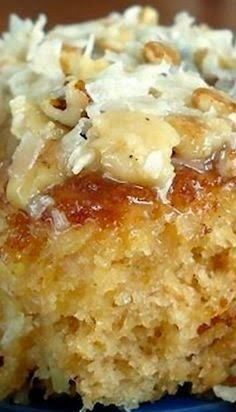 Do Nothing Cake | FoodGaZm.. 2c sugar, 2 c flour 2 eggs, 1 t vanilla, 16 oz crushed pineapple, undrained. Icing: 1/2c butter, 1 c sugar, 3/4c evap milk, 1 c coconut, 1 c nuts, 1 t vanilla. NOTE to self: use the icing recipe to top a german chocolate cake.