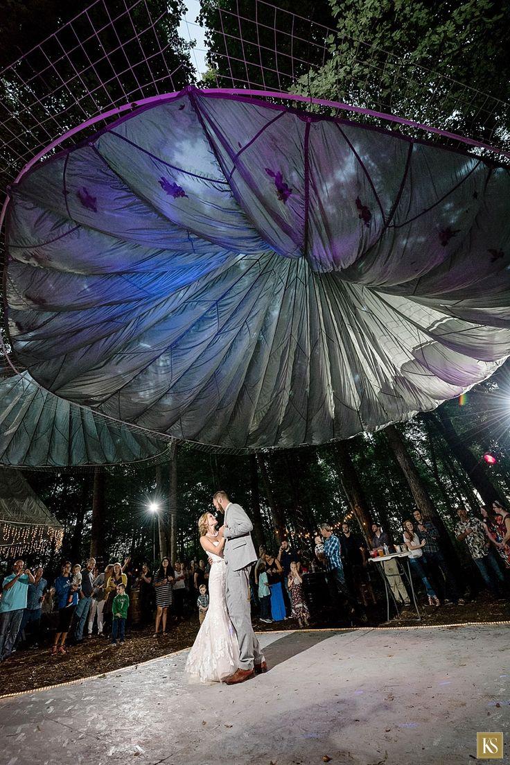 Dancing Under The Parachute At Wedding Decor