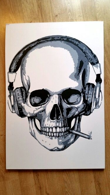 #painting of a #skull #smoking with #headphones on.