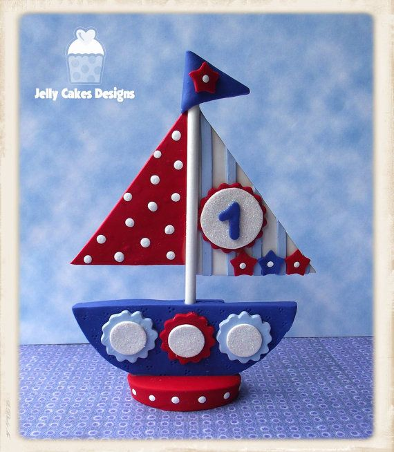 Sailing The OceanBlue keepsake cake topper by jellycakesdesigns