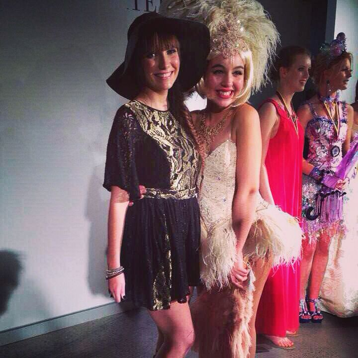 Showgirl/Burlesque dress recycled from a wedding dress and a gold and black lace playsuit designed and made by me