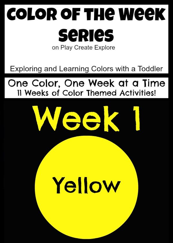 Color of the week series on Play Create Explore. Exploring one color a week for 11 weeks of fun color themed activities! Week one: YELLOW! Lots of Yellow sensory bins, activities, and ideas for exploring the color yellow with toddlers!