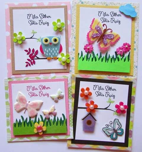 Tarjetas de presentación confeccionadas con papel/stickers adhesivos/Punch . Tema: Mariposas/búhos/libélulas Facebook Crafts by Iris @craftsbyiris