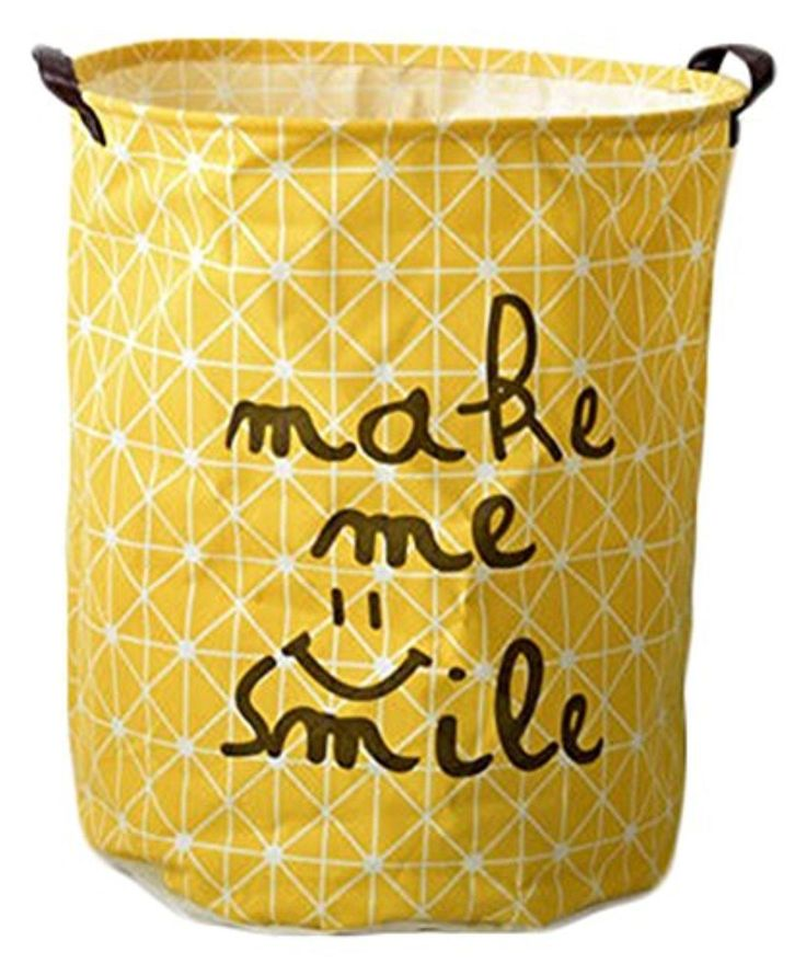 Orolay Foldable Large Cylindric Fabric Storage Bin for Toy Storage, Laundry Hamper (Yellow) - Brought to you by Avarsha.com