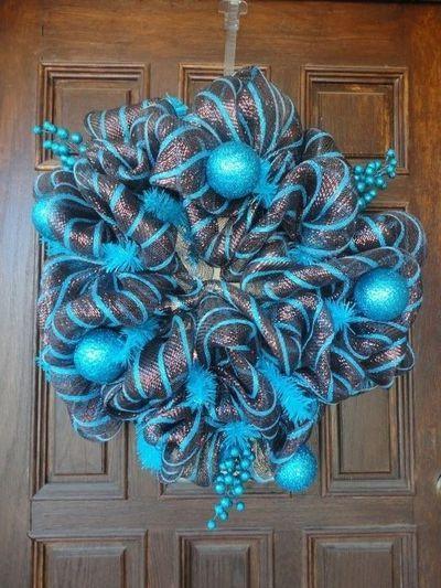 Mesh Christmas Wreaths   christmas brown and turquoise deco mesh wreath `~ / christmas xmas ...