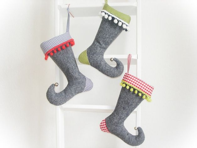 Schicke Nikolausstiefel als Weihnachtsdekoration / little christmas stocking, christmas decoration by LouPa-eu via DaWanda.com