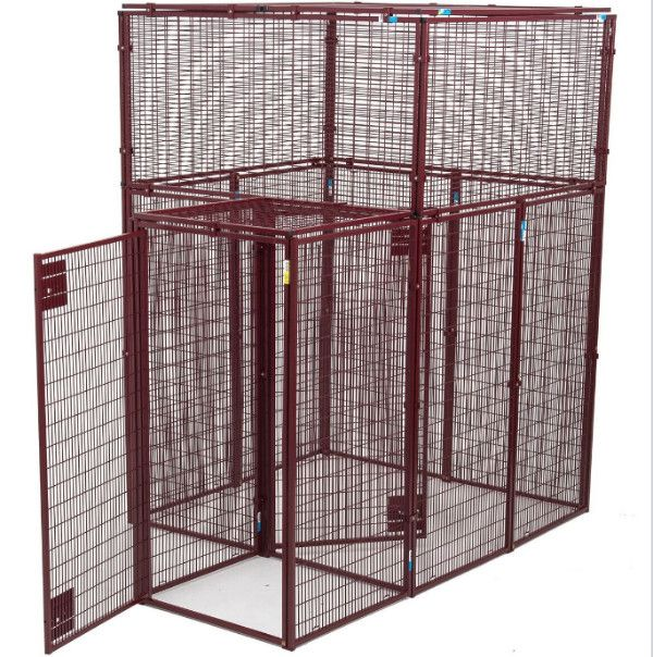 """Animal House Heavy Duty 60"""" L x 60"""" W x 90"""" H Flat Covered Pen Double Door Security Entrance"""
