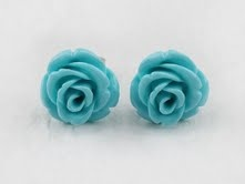 Rose Earrings (turquoise)