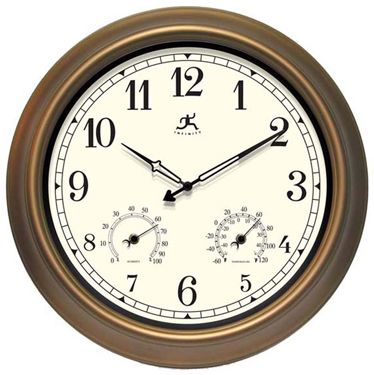 "The Craftsman Clock 18"" Round Bronze Finished Metal Case Hygrometer/Thermometer Black Metal Hands"