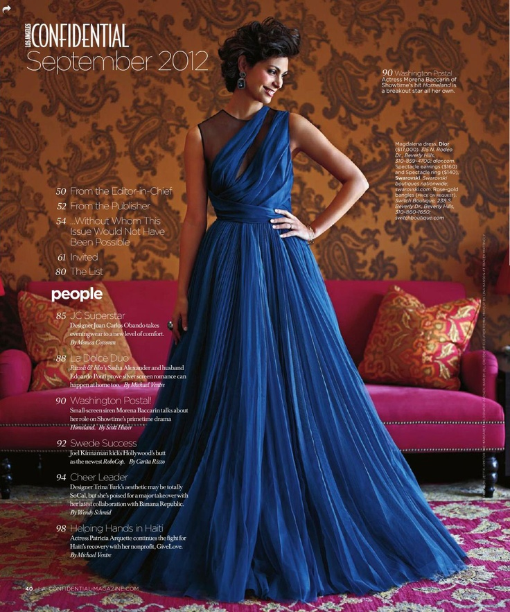 The gorgeous Morena Baccarin in the September issue of LA Confidential (Shot at The Redbury): Gowns