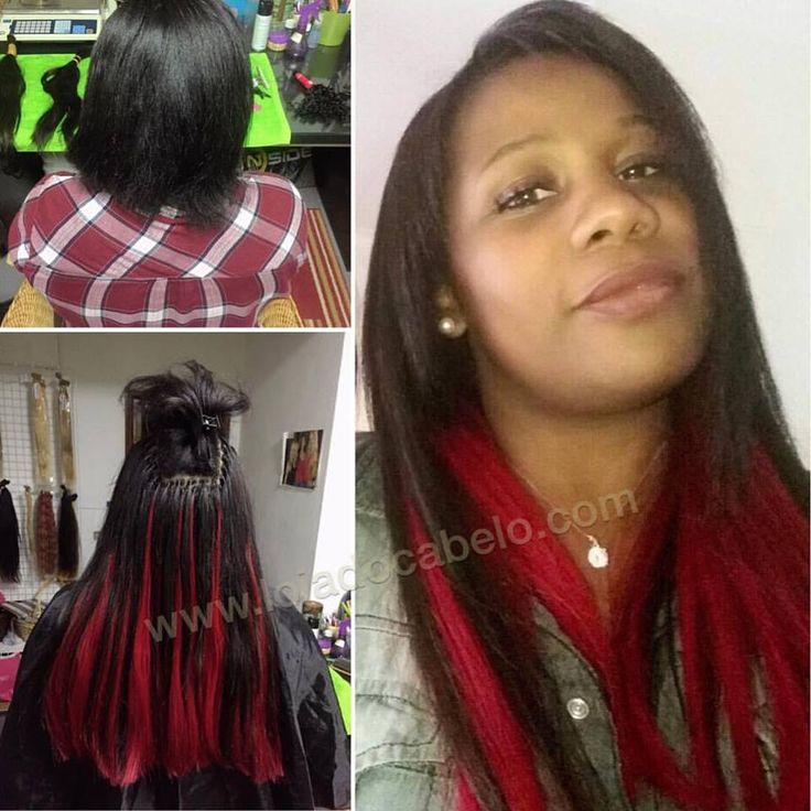 Antes e depois! 😍😍  200 gramas cabelo liso 60/65 cms com coloração para vermelho.  Método de aplicação: Nó Italiano. #hairextensions #hair #cabelo #extensoesdecabelo #lisboa #montijo #lojadocabelo #fantasy #fantasia #diva