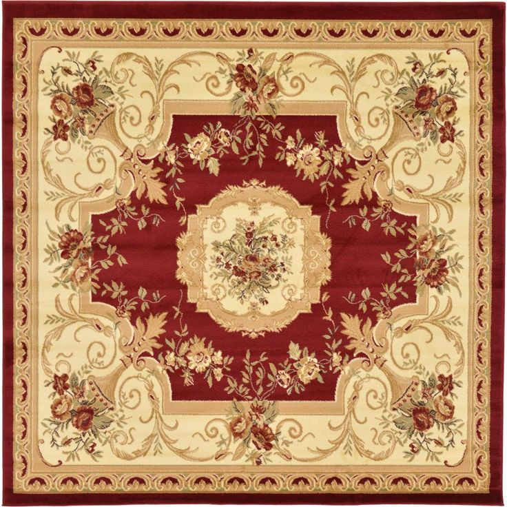 Traditional Versailles Red 8 ft. x 8 ft. Square Rug