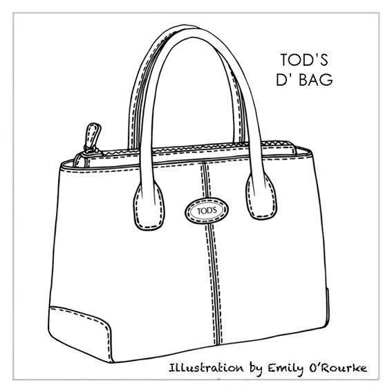 TOD'S D' (Lady / Princess Diana) BAG - Designer Handbag Illustration / Sketch / Drawing / CAD / Borsa Disegno / Product illustrator / Product Design / Illustrazioni Borse /  styliste sac à main