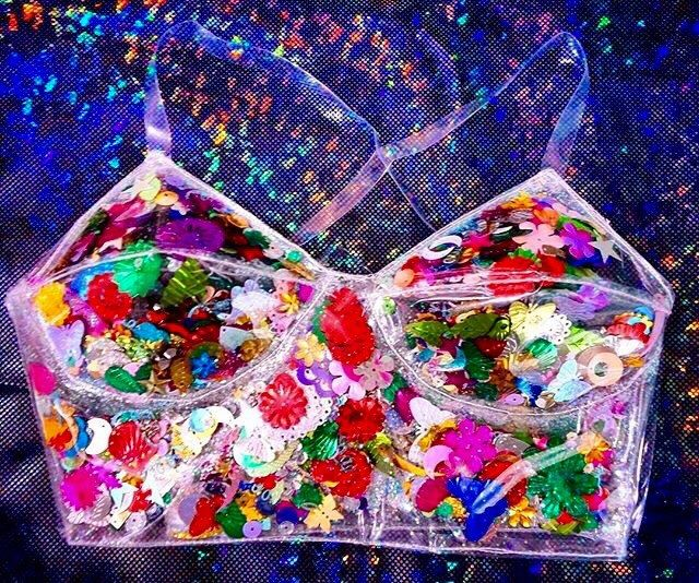 90s club kid Clear PVC glitter confetti bralet by TheUnicornEmporium on Etsy https://www.etsy.com/listing/293783289/90s-club-kid-clear-pvc-glitter-confetti