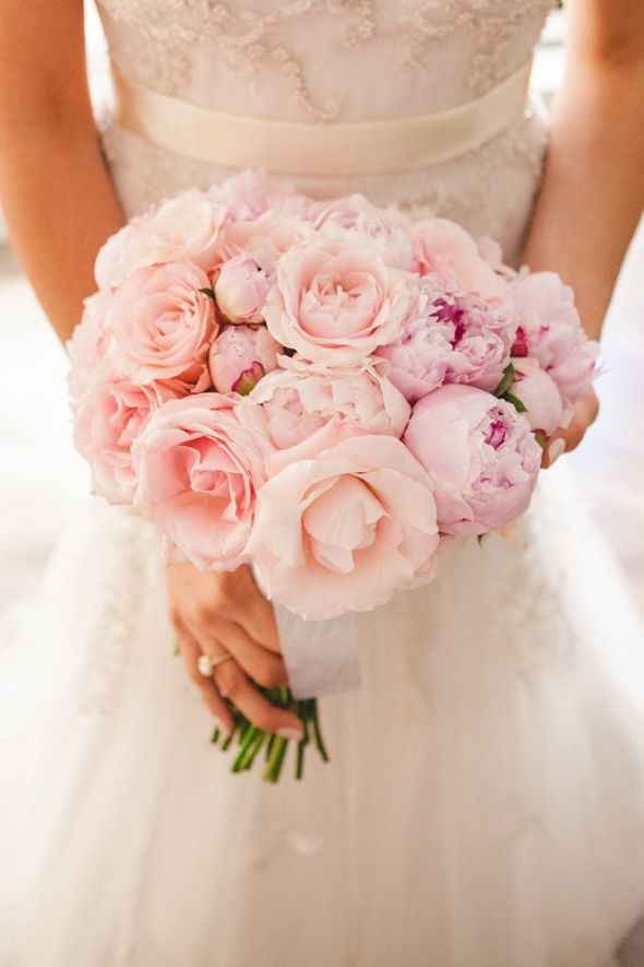 peonies and garden roses in blushing pink -