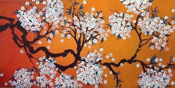 Cherry Blossom Art, Sakura schilderij  KLAAR OM TE HANGEN  Witte kersenbloesem, abstracte schilderkunst, grote schilderij, Decor van het huis, Wall Art. Ga voor close-ups Klik op bovenstaande afbeeldingen, klik dan op de geopende afbeelding te maximaliseren  Titel: Witte kersenbloesem Afmeting: 48 x 24 7/8 massieve den brancard bars Geschilderd op Gallery terug uitgerekt doek gewikkeld.  De afbeelding komt zonder frame. Randen geschilderd in licht oranje.  Medium: acryl Overheersende…