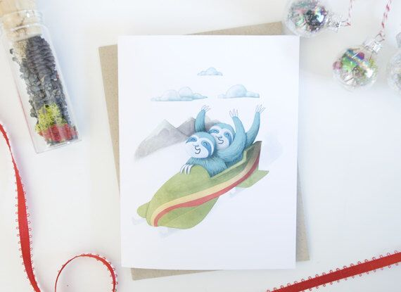 A personal favorite from my Etsy shop https://www.etsy.com/ca/listing/481531941/sloth-bobsled-holiday-greeting-card