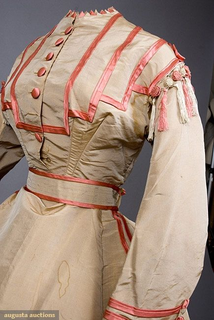 1867-1870 dress front in cream and coral