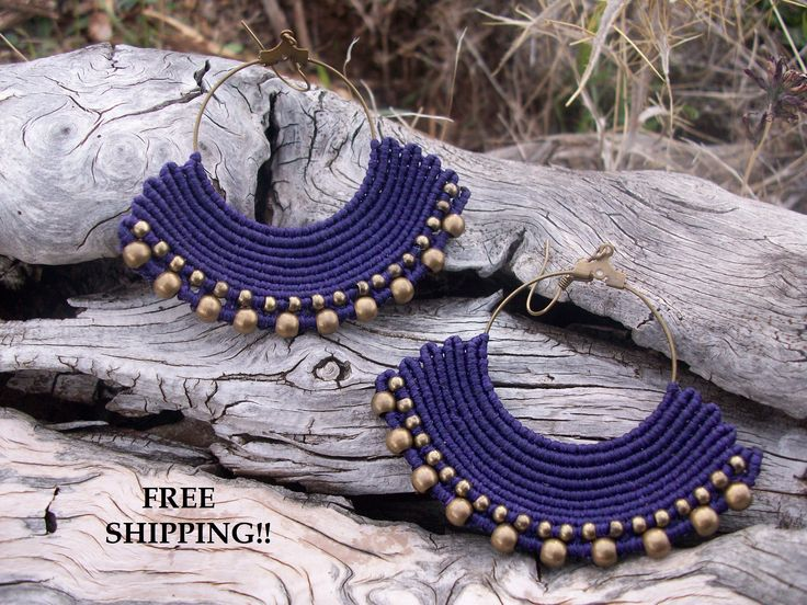 FREE SHIPPING purple beaded earrings - large earrings, earrings for her, fan shaped, beaded earrings!!