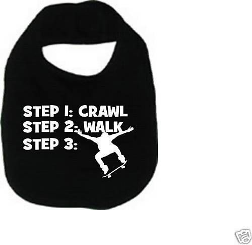 Crawl walk skateboard skater cool custom  baby infant bib color choice pink blue black white shower  gift idea on Etsy, $6.49