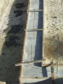 Concrete strip footings with reinforcement