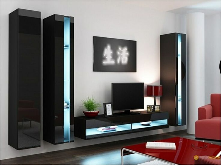 Seattle B2 Wall Units Dimensions wall units: Height / width / depth TOTAL SIZE WALL UNITS ~ 180/270/42 cm ALL FRONTS high gloss INCLUDES BLUE LED LIGHTING