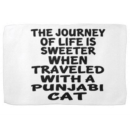 #Traveled With Punjabi Cat Kitchen Towel - #travel #trip #journey #tour #voyage #vacationtrip #vaction #traveling #travelling #gifts #giftideas #idea