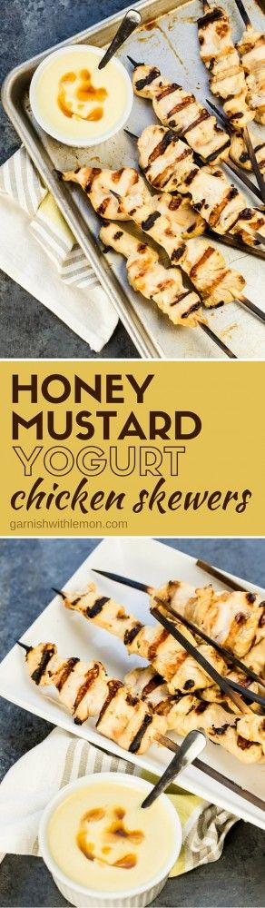 These Honey Mustard Yogurt Chicken Skewers are marinated in greek yogurt to give you the best, juiciest chicken ever! My kids ask for it again and again!