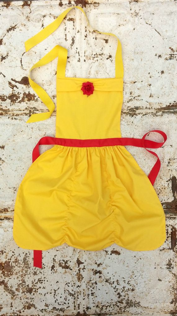 BELLE Beauty and the Beast Sewing PATTERN. Disney princess inspired Child Costume Apron. Dress up Play. Fits sizes 2t, 3t, 4, 5, 6, 7, 8.