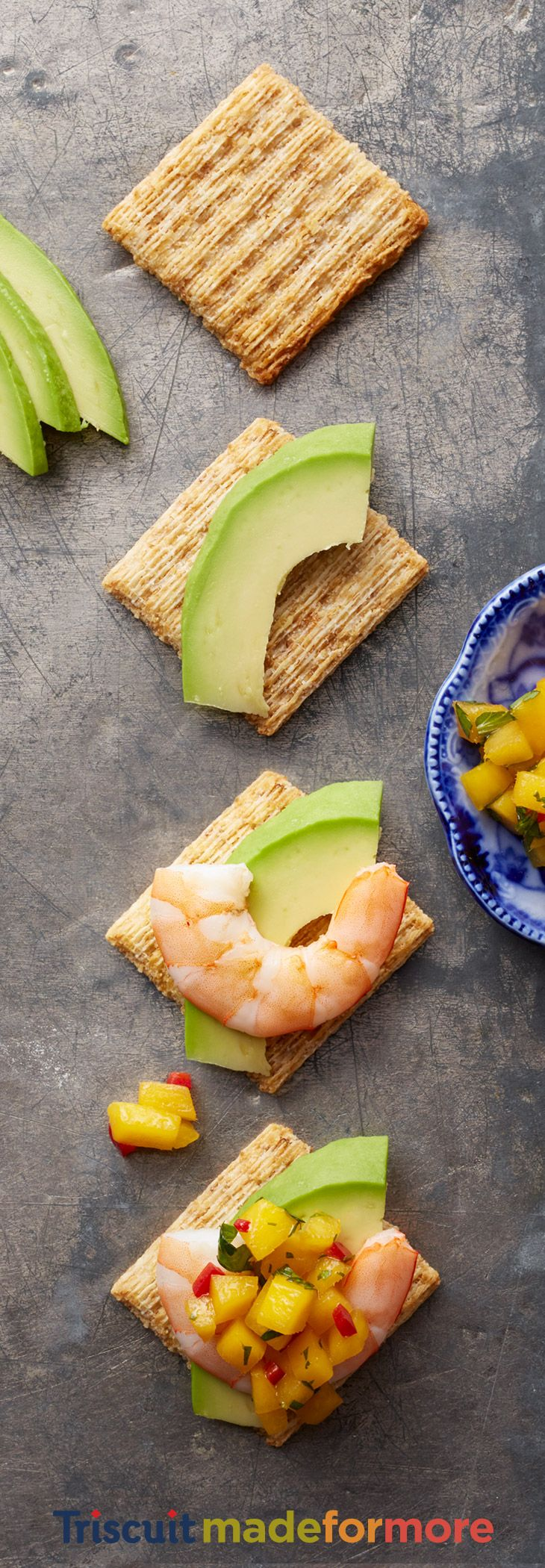 Take your mouth on a summer vacation with the tropical taste of shrimp and mango topped with avocado on your favorite Triscuit. Find more recipes like the delicious avoangoimpscuit on our Triscuit boards.