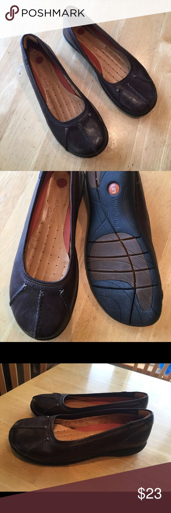 Clarks leather slip on Like new condition. THIS IS A WIDE WIDTH SHOE! Clarks Shoes Flats & Loafers