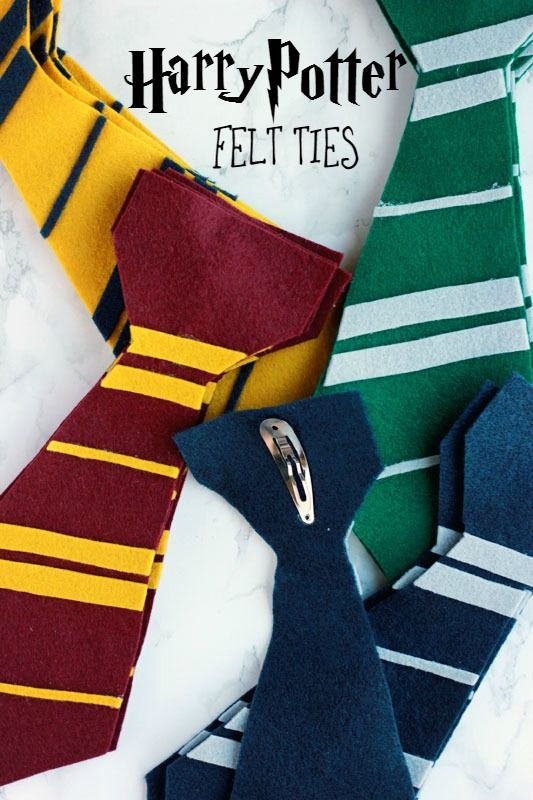 Felt Harry Potter Ties- so fun to make! I used tiny clothes pins on back instead of hair clips.