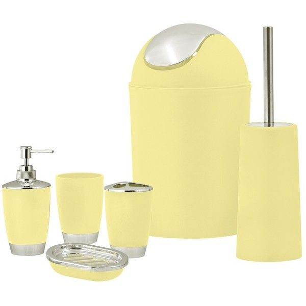 SQ Professional Yellow Bathroom Accessory Set 6pc ($33) ❤ Liked On Polyvore  Featuring Home