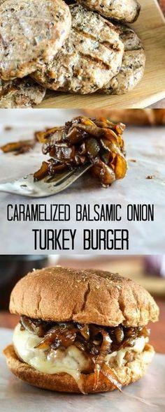Caramelized Balsamic Onion Turkey Burgers - Flavorful, 21 Day Fix approved… yo la hago con pollo cebolla y zanahoria caramelizada y una salsa de yogurt ummm