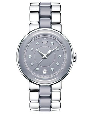 Movado Watch, Women's Swiss Cerena Diamond Accent Lilac Ceramic and Stainless Steel Bracelet 36mm 0606554