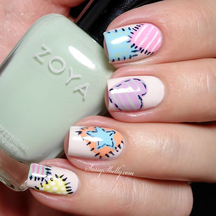 pastel patchwork quilt nail art | Sassy Shelly