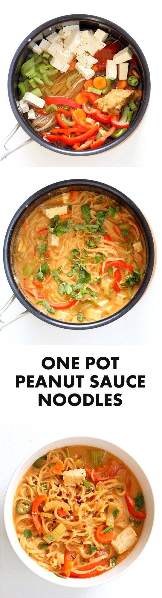 One pot Peanut Sauce Noodles, Ready in 20 minutes! Brown Rice Noodles, Veggies, Peanut or Almond Butter, spices, flavors, boil and done. #Easy #Quick #Weeknight #Dinner #Recipe | VeganRicha.com