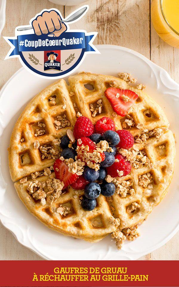 Prenez le contrôle de vos matins en visitant www.coupdecoeurquaker.ca Gagnez du temps lors de vos matinées occupées. Ces gaufres, parfaites pour créer un déjeuner complet, peuvent être préparées à l'avance, congelées et simplement cuites au grille-pain. Recette complète: http://www.quakeroats.ca/fr/recipes/gaufres-de-gruau-%C3%A0-r%C3%A9chauffer-au-grille-pain #CoupdecoeurQuaker