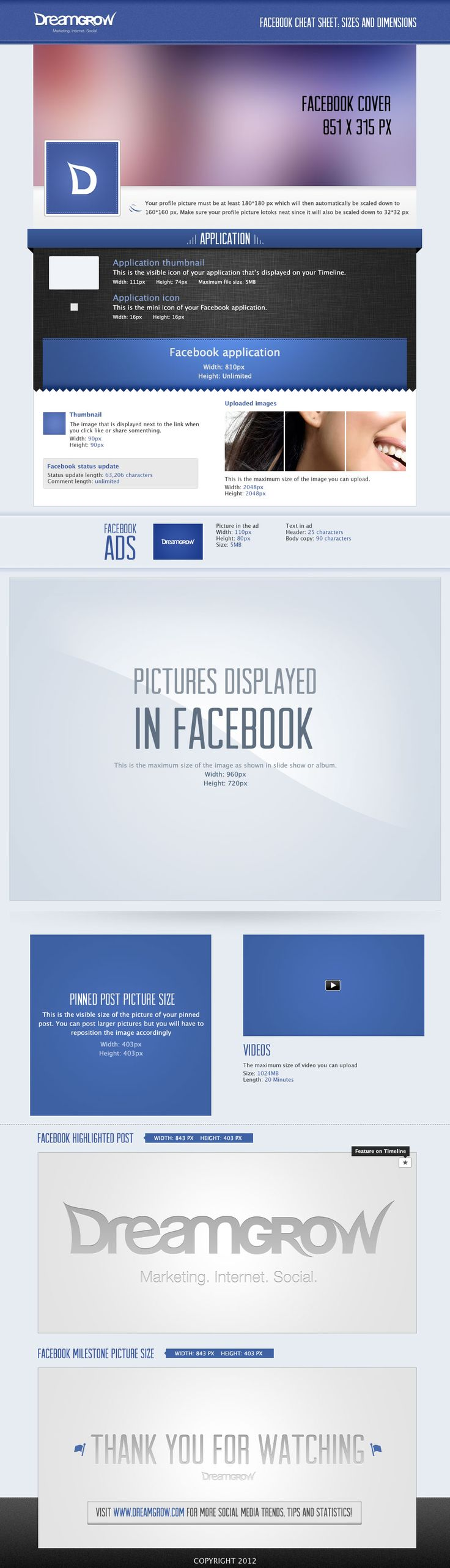 Facebook Cheat Sheet: sizes and dimensions for the timeline.
