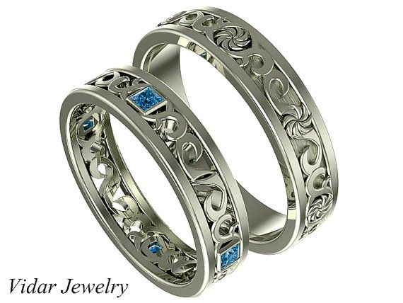 matching wedding band sethis and hers blue diamond wedding band setunique matching wedding band setprincess cut diamond ring setrings by vidarjewelry on - Wedding Rings For Her And Him