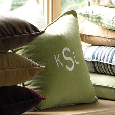 MonogrammedPillows Covers, House Ideas, Master Bedrooms, Monograms Pillows, Basic Pillows, Throw Pillows, Bedrooms Decor, Ballard Design, Bedrooms Ideas