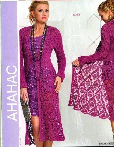 International Crochet Patterns, long tunic with pineapple motifs