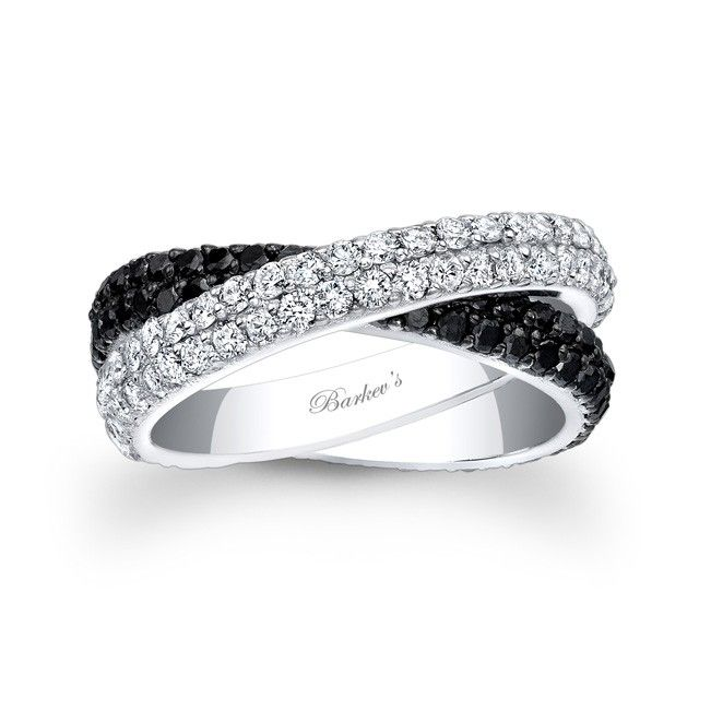 beautiful black and white diamond wedding band featuring two crossing double row bands of shared