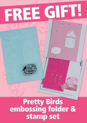Quick Cards # 126 on sale 25/4/2014 (free: birdcage embossing folder and sentiment 'Best Wishes' stamp)