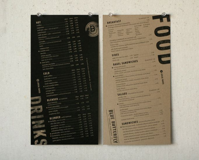 Blue Butterfly Coffee Co. | visual communication. graphic design. menu design. restaurant menu. layout. grid. hierarchy. typography.