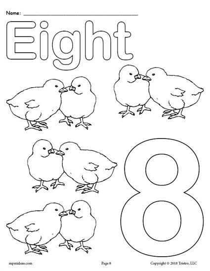 Printable Animal Number Coloring Pages - Numbers 1-10 ... | numbers coloring pages preschool