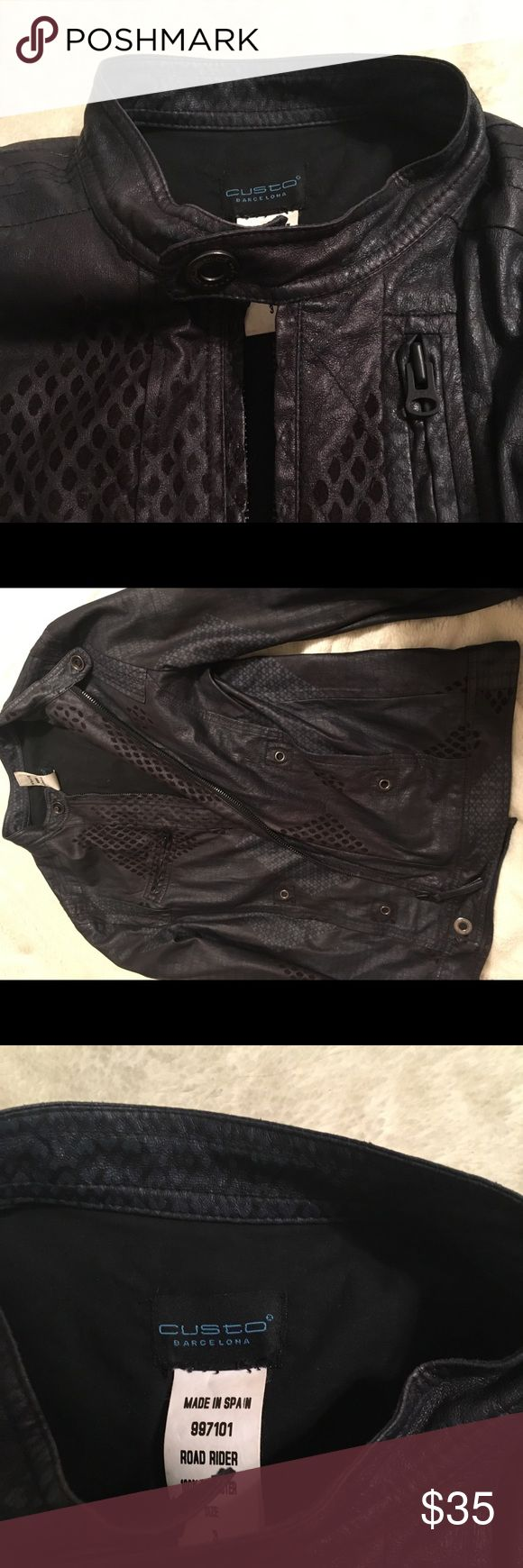 Custo Barcelona Vegan Leather Jacket Custo Barcelona Vegan Leather Jacket Black with Blue detailing and pattern Snap up Color snap Zipper pockets  Size 3 = Large (runs small)   In great condition!! Custo Barcelona Jackets & Coats Utility Jackets